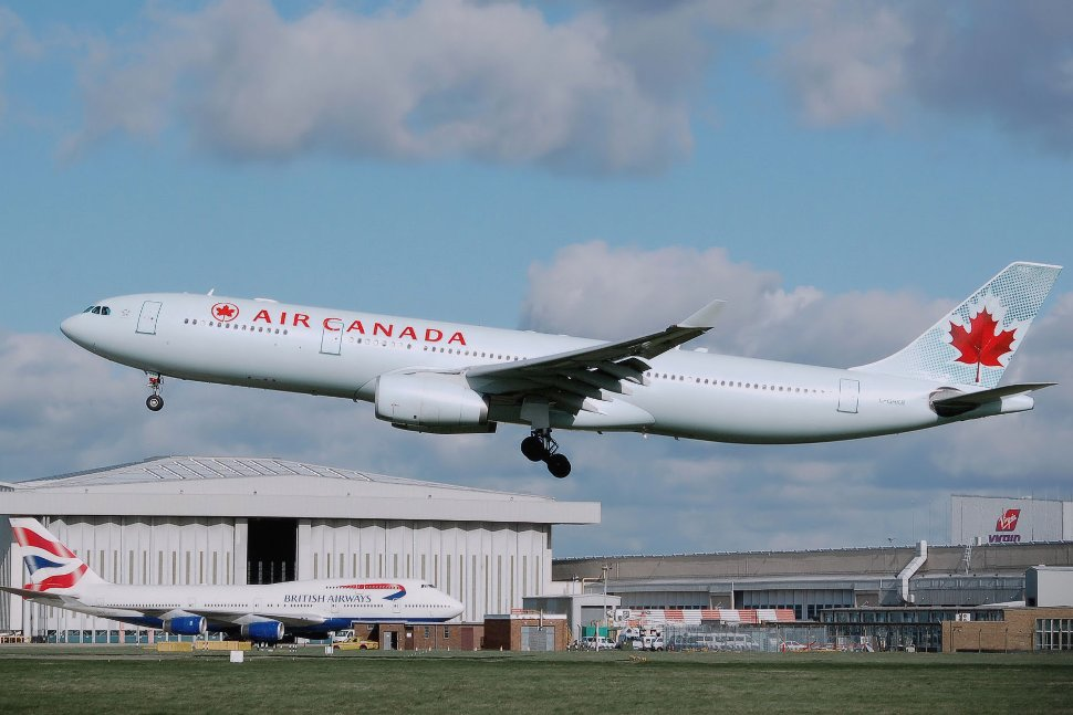 Air Canada's Airbus A330-300 landing at London Heathrow Airport