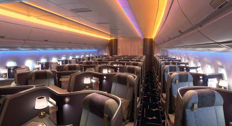 Spacious seating arrangement for business travellers