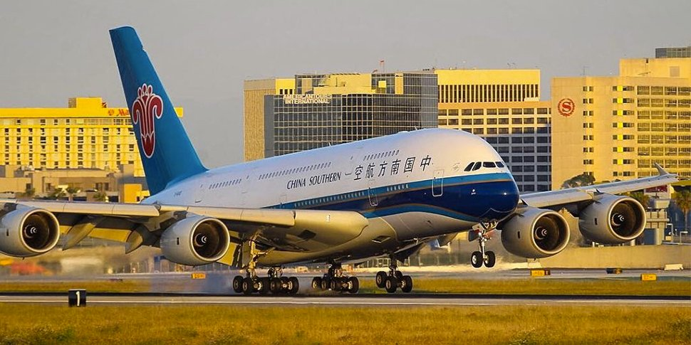 China Southern Airlines' flight landing at the terminal