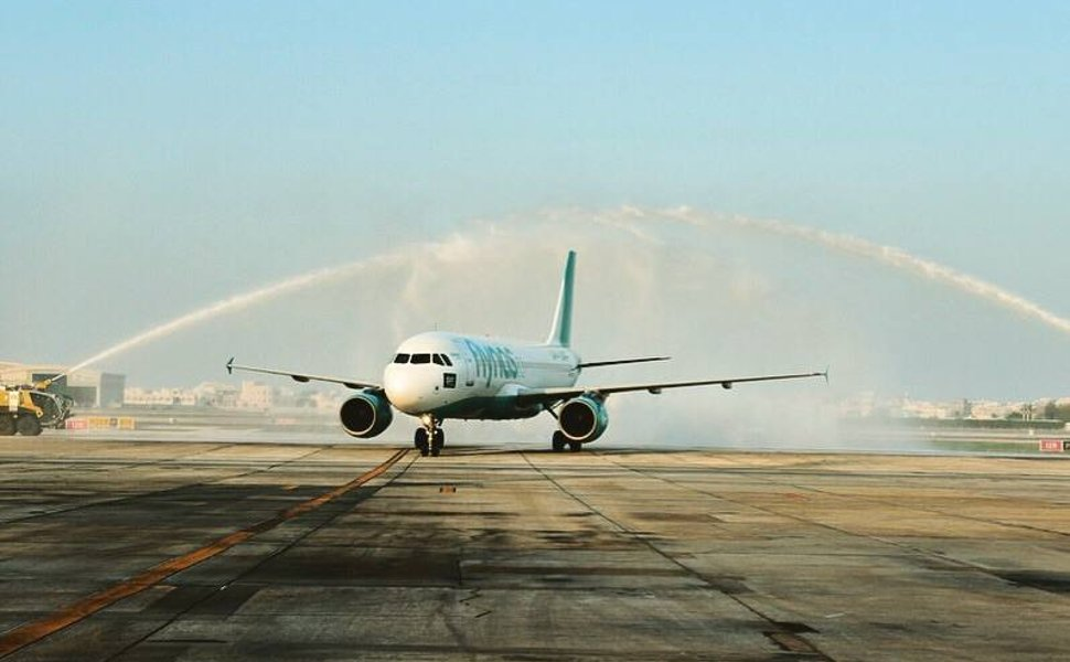 Flynas' flight landing at the terminal