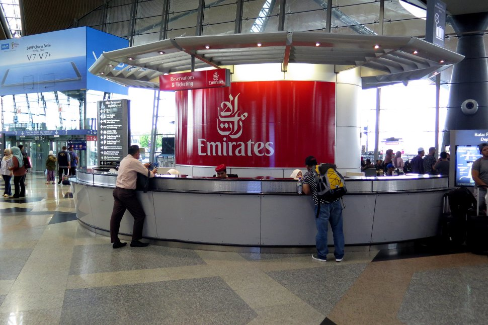 Emirates Airline's information counter at KLIA