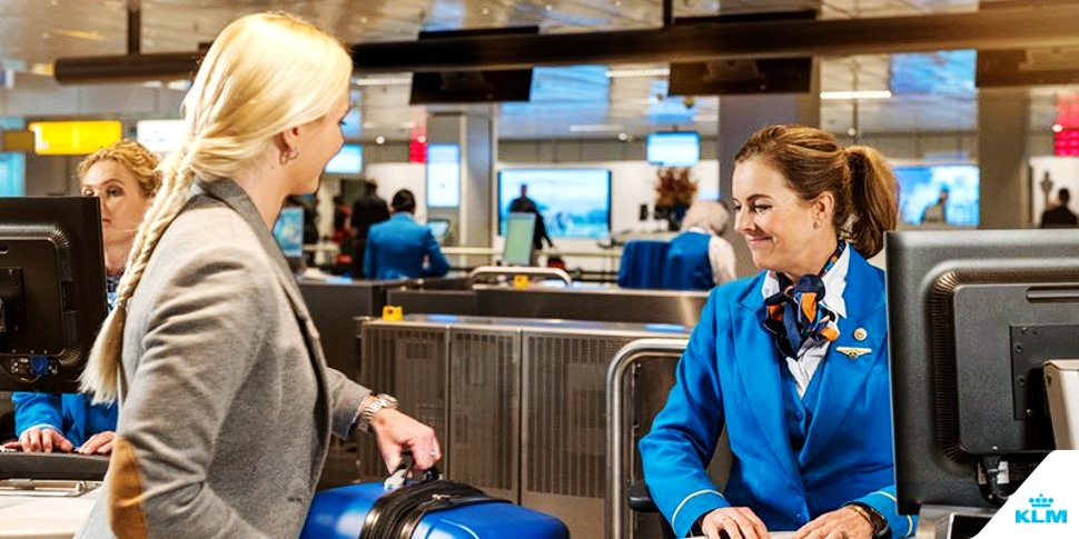 Check-in at KLM Royal Dutch Airlines counter