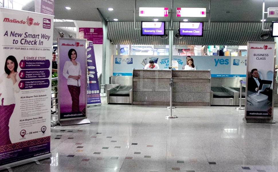 Malindo Air's check-in counters at KL Sentral