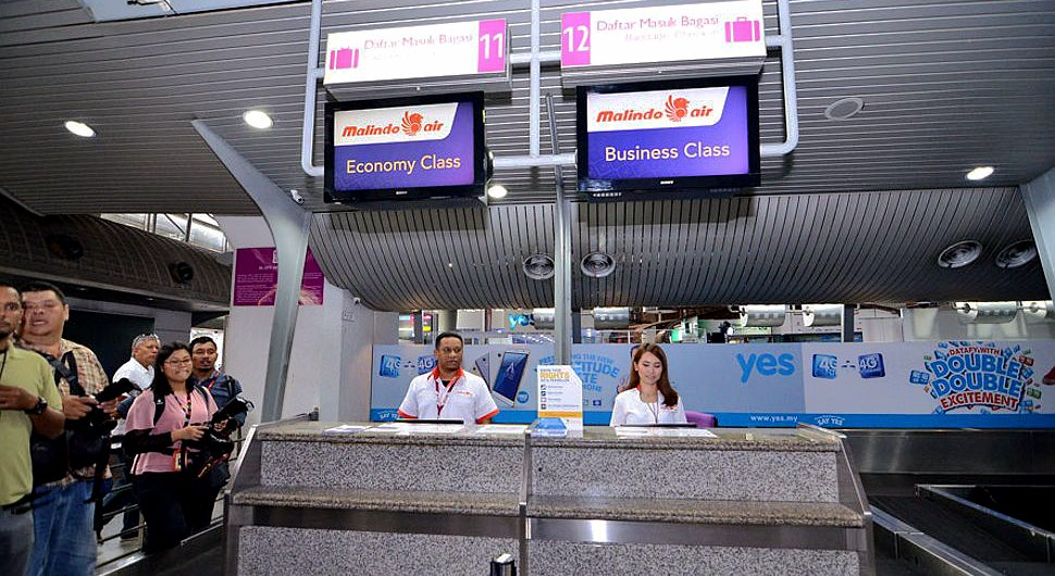 Malindo Air's check-in counters at KLIA