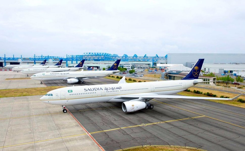 Saudi Arabian Airlines' flights waiting at the terminal