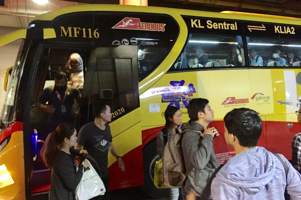 Passengers getting off the Aerobus at the KL Sentral