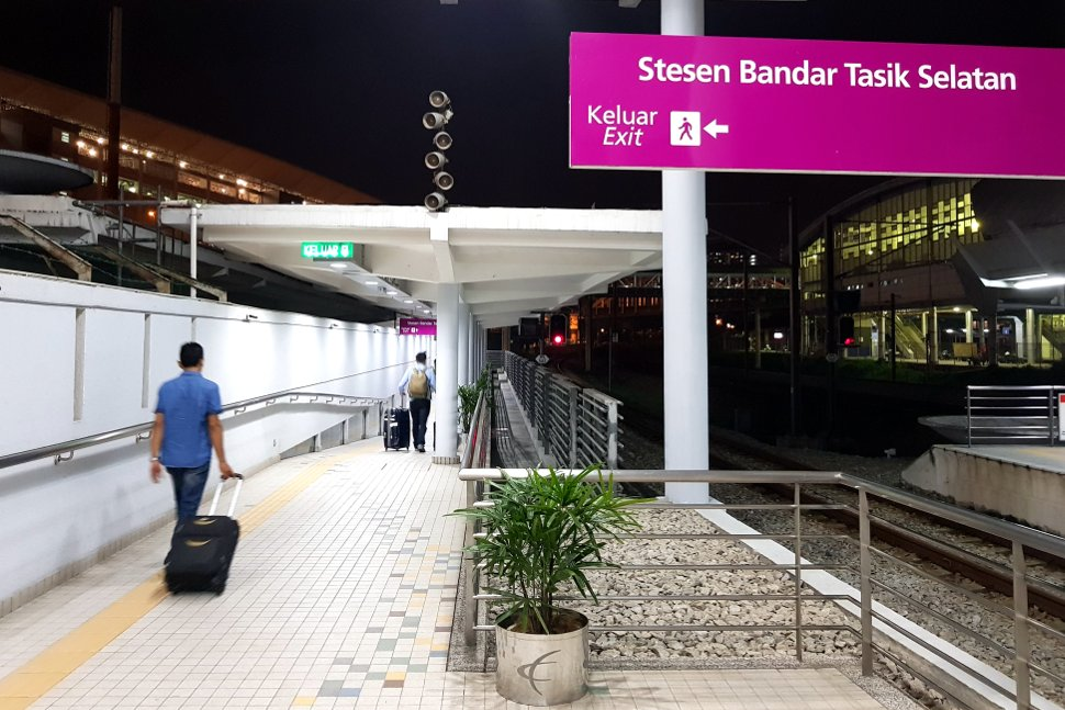 Exit the ERL station and use the pedestrian bridge to go to TBS