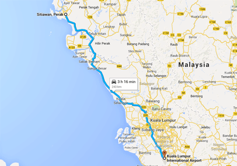 Route map from Sitiawan to KLIA