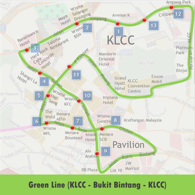 Go KL Green Line Route