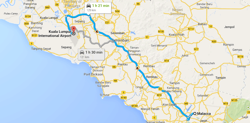 Route map from klia2 to Melaka
