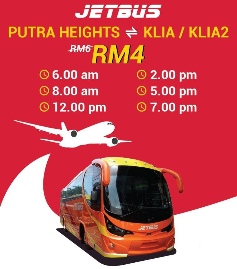 Jetbus from Putra Heights LRT station to KLIA / klia2