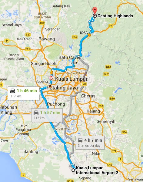 Map from Kuala Lumpur International Airport 2 (KLIA2) to Genting Highlands