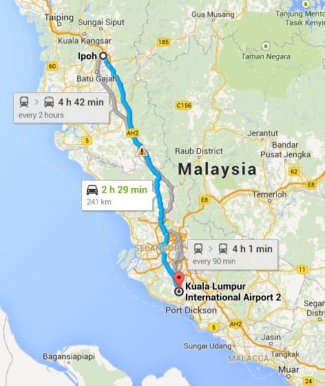 How to go to Ipoh Malaysia Airport KLIA2 info
