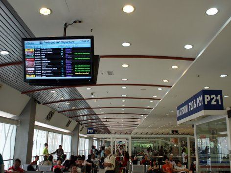 Information monitors at waiting area