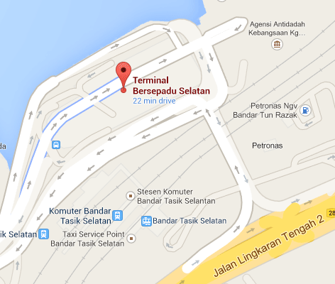 Location map to Terminal Bersepadu Selatan (TBS)