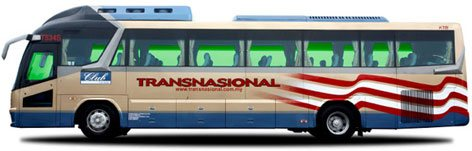 Transnasional Bus servicing routes between Melaka and klia2