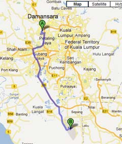 Driving from Damansara to KLIA2