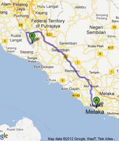 Driving from Melaka to KLIA2
