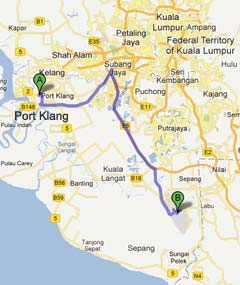 Driving from Port Klang to KLIA2