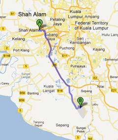Driving from Shah Alam to KLIA2