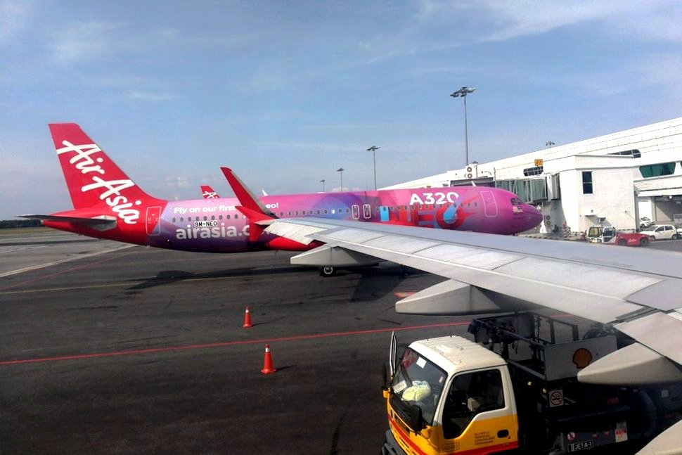 AirAsia flights waiting at the Pier