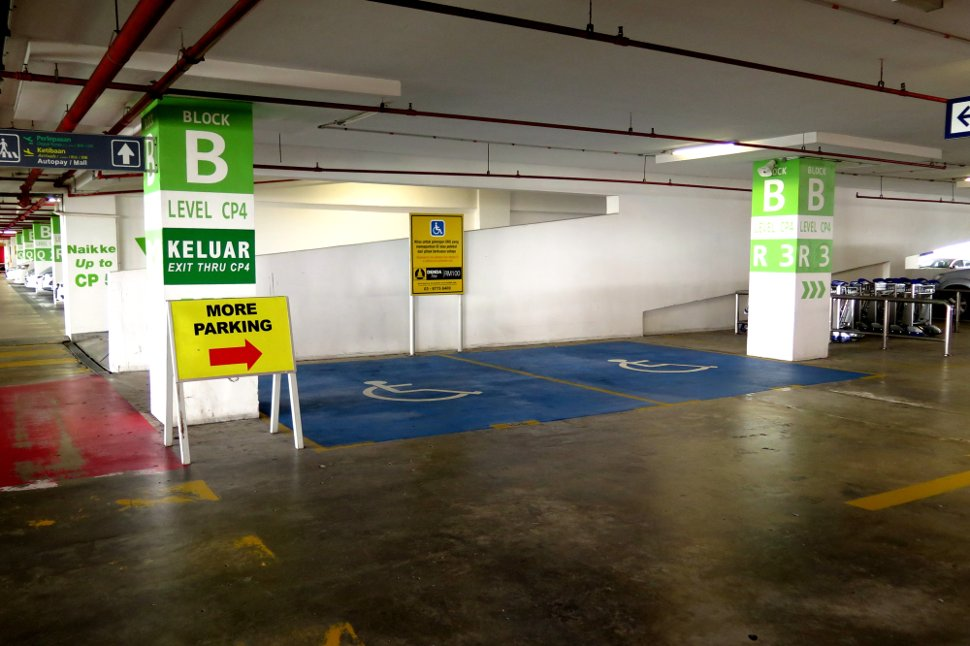 Parking bays for disabled visitors