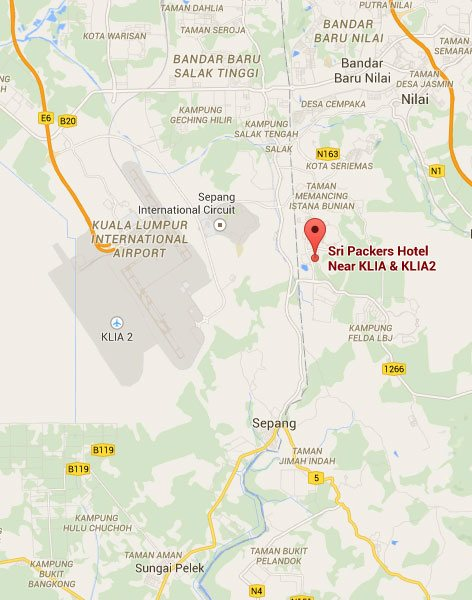 Map to Sri Packers Hotel, KLIA