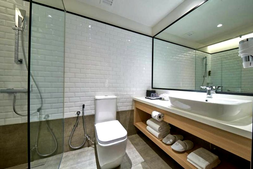 Spacious and clean washroom