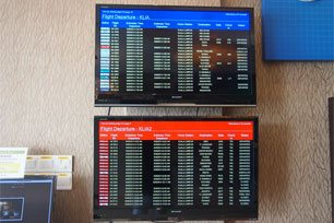 Flight information display monitor, Sri Packers Hotel