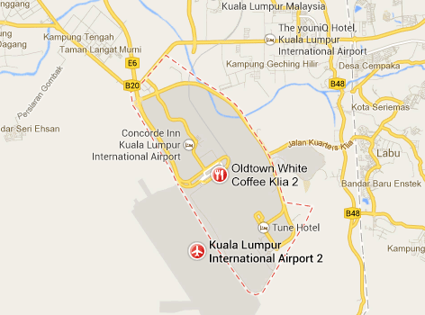 Location of KLIA2 on Google map