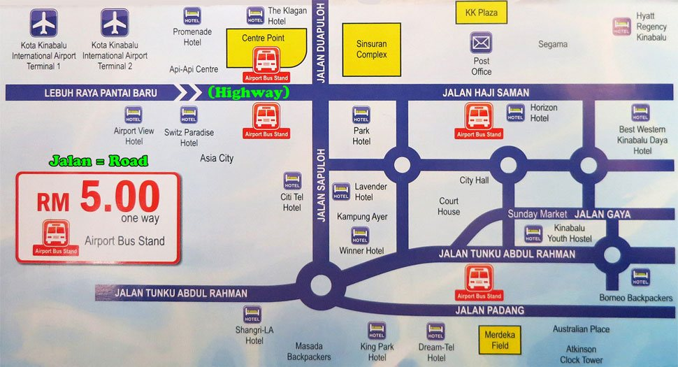 Airport Bus services location map
