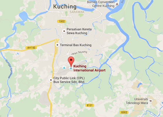 Location of Kuching International Airport