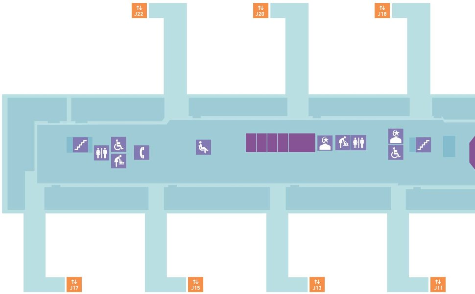 Pier J layout plan, near Gate J11, J13, J15, J17, J18, J20, J22