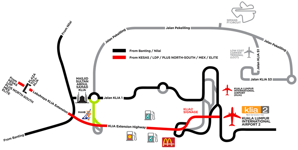 Road map to KLIA2, location map of KLIA2