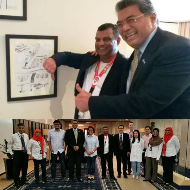 Tan Sri Tony Fernandes (top, left) has decided to bury his 15-year feud with Malaysia Airports Holdings Berhad when he visited its head office here today. ?Screen capture from Facebook/Tony Fernandes