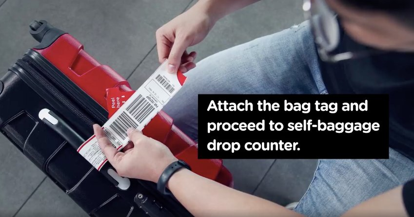 Self drop bag procedures at airport
