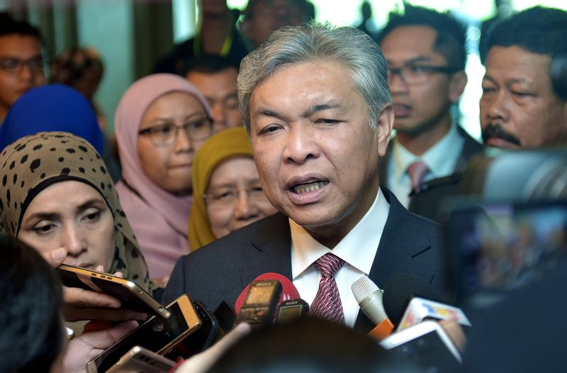 Deputy Prime Minister Datuk Seri Dr Ahmad Zahid Hamidi interviewed by reporters after the official opening of the International Conference on Human Ecology (HEIC 2017) in Putrajaya April 18, 2017. � Reuters pic