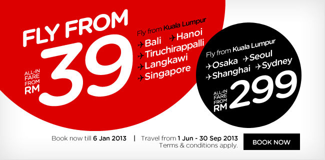 AirAsia Promotion - Fly from RM39