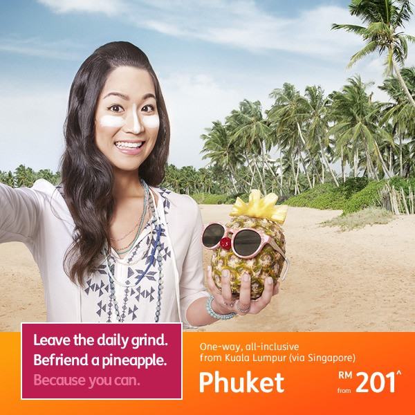 From Kuala Lumpur (via Singapore) to Phuket, one-way from RM201*