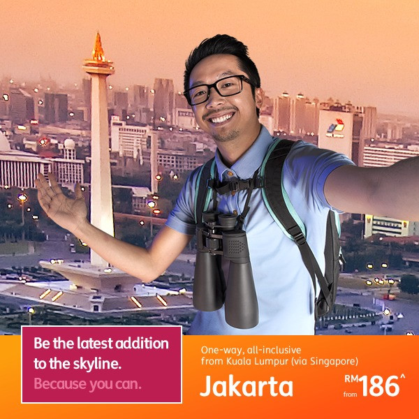 From Kuala Lumpur (via Singapore) to Jakarta, one-way from RM186*