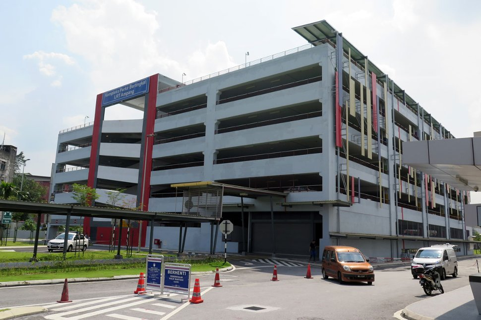 Multi-storey car park next to LRT station