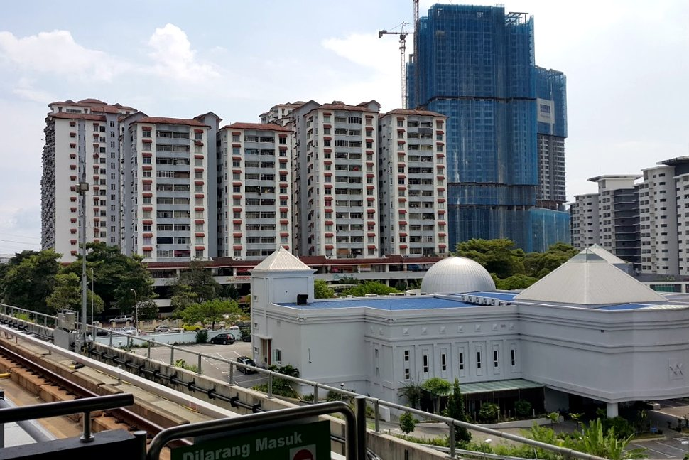 View from boarding level at Awan Besar LRT station