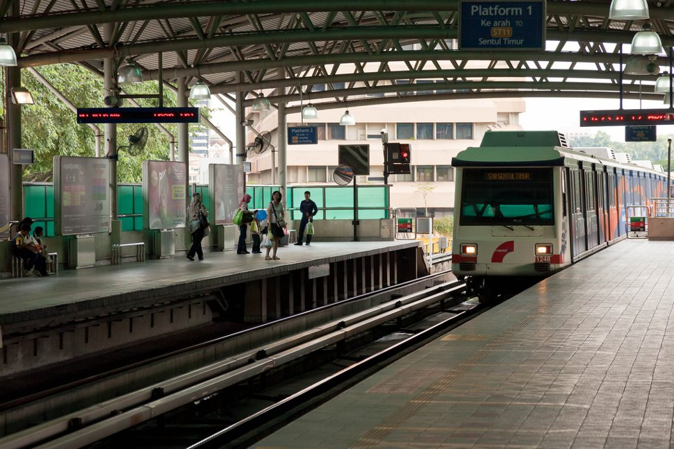 Boarding platform at Bandaraya LRT station