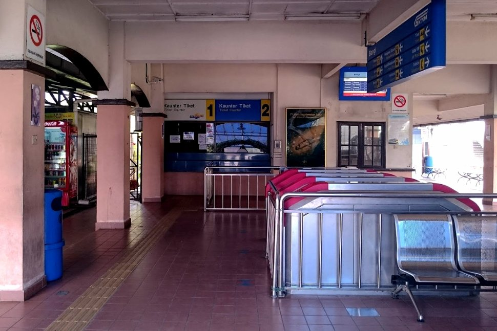Faregates and ticket counter at station
