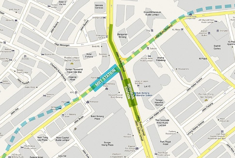 Location of Bukit Bintang Monorail and MRT station