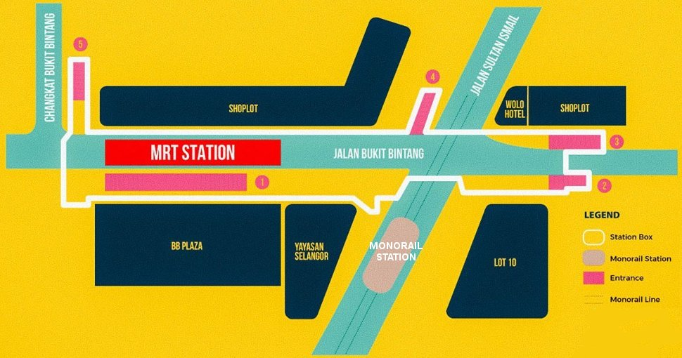 Exits of Bukit Bintang MRT station