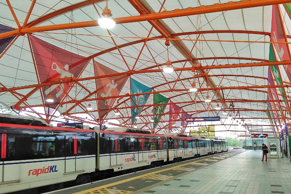 The roof of the station features colourful panels with sports symbolisms.