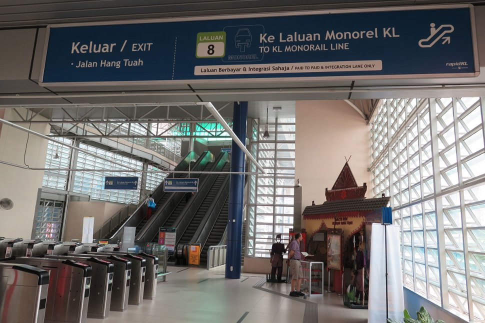 Escalators at Level G to Hang Tuah Monorail station