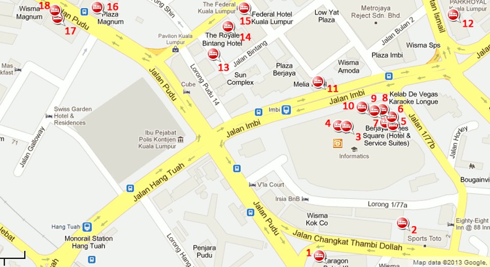 Hotels near Hang Tuah station