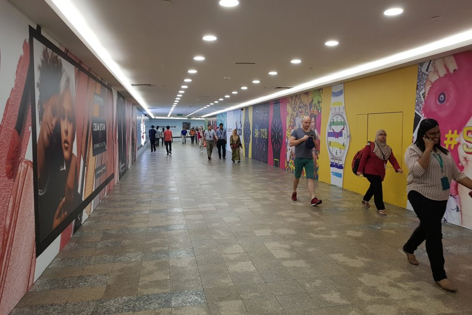 Pedestrian walkway leading to the Suria KLCC shopping mall